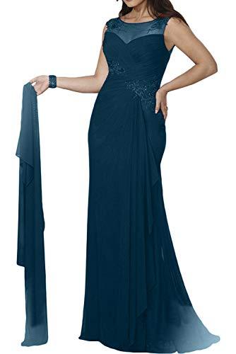 Damen La Figurbetont Ballkleider Stola Braut Marie Meerjungfrau Brautmutterkleider Blau Abendkleider Dunkel Mit rEZqrnaw