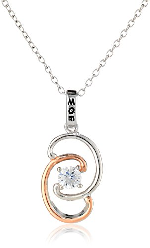 """18K Rose Gold Plated Sterling Silver Two-Tone Cubic Zirconia """"Mom"""" Twisted Pendant Necklace, 18"""""""