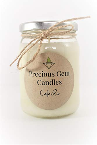 Gemstone Candle - Cafe Rio - Soy Candle with A Gemstone Inside (Surprise Semi-Precious Faceted Gemstone Valued $10-$5,000)