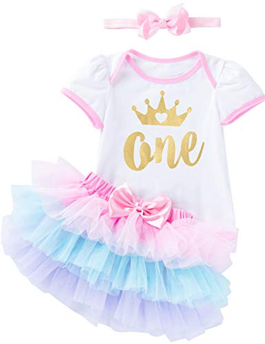 (Baby Girls 1st Birthday Skirt Set One Year Old Bodysuit with Headband (Multicolor,6-12 Months) )