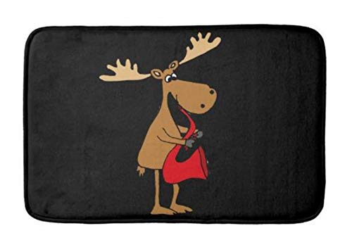 - Lovestand-Doormat Welcome Mat Indoor/Outdoor Bath Floor Rug Decor Art Print with Non Slip Backing 30X18 inch Funny Moose is Playing red Saxophone Art Bath mat
