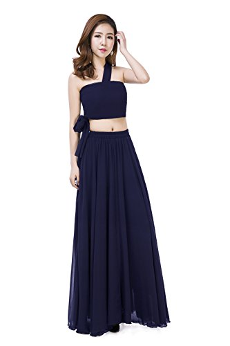 - Sinreefsy Summer Chiffon High Waist Pleated Big Hem Floor Length Beach Maxi Skirt for Women Wedding Party (Large/Navy Blue)