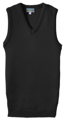 (Ed Garments Women'S 165 Interlock Stitch Sweater Vests (Black)