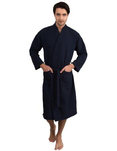 TowelSelections Men's Robe, Kimono Waffle Spa Bathrobe Large/X-Large Navy by TowelSelections