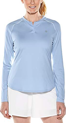 Coolibar UPF 50+ Women's Long Sleeve Match Point Henley - Sun Protective (Large- Vintage Blue)