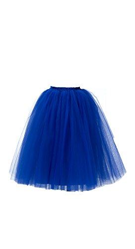 Honeystore Women's Long Ballet Multi-Layer Ruffle Frilly Petticoat Tutu Skirt Royal Blue XL