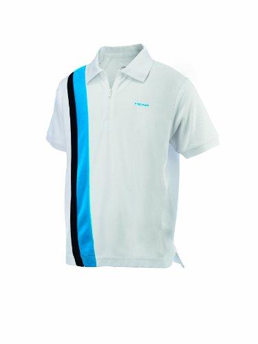 Head Jungen Tennisshirt Baddley JR Poloshirt weiß / blau / schwarz Gr. 140