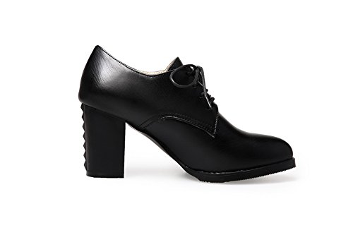 Rubber Shoes Solid Heels Pumps Lace Womens Up Black High BalaMasa ZxqpnHaYfw