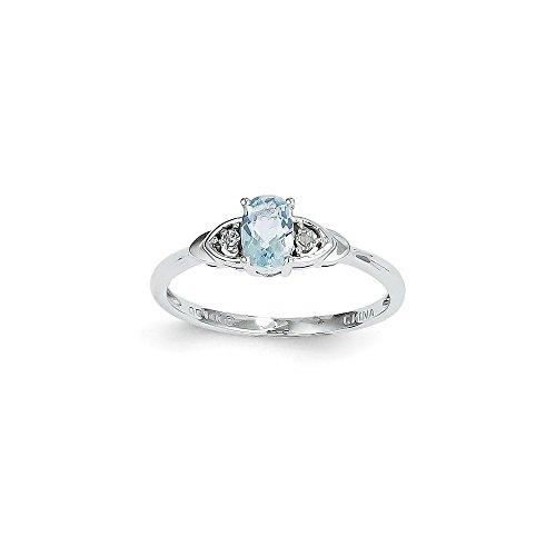 14k White Gold Polished Aquamarine Diamond Ring