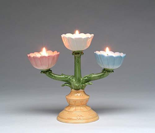 Cosmos Gifts Fine Ceramic Daisy Flowers Design Tea Light Candle Holders Candelabra, 7-3/4