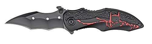 Rogue-River-Tactical-Red-Black-8-Inch-Assisted-Open-Folding-Pocket-Knife-Hunting-Camping-Tactical-Batman-Design-Handle-Dark-Knight-Glass-Breaker-Bottle-Opener-Utility-Belt-Clip