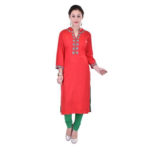 Gaura Red Color Solid REYON Kurti