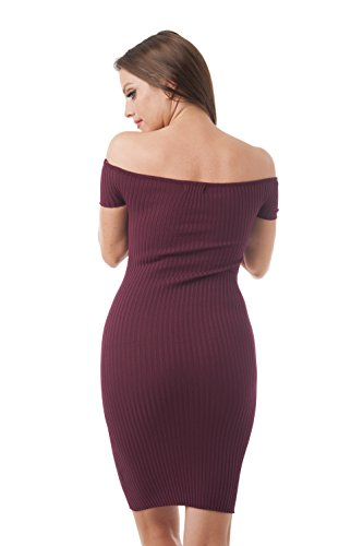 The Sweater Burgundy Short Dress Off Shoulder Sleeve HxqFdITU