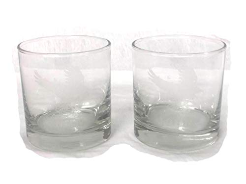 2 Custom Engraved / Etched Old Fashioned Whiskey Rocks Glasses Set -