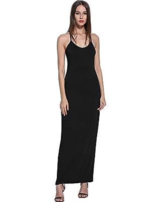 KIRA Women's Adjustable Spaghetti Straps Long Cami Slip Dress