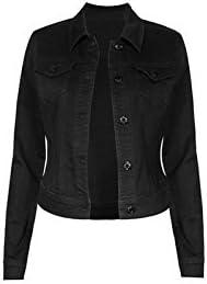 WAX JEAN Women's Black Denim Button Up Jacket