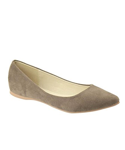Bella Marie BellaMarie Angie-28 Women's Classic Pointy Toe Ballet Flat Shoes Taupe 9 B(M) US