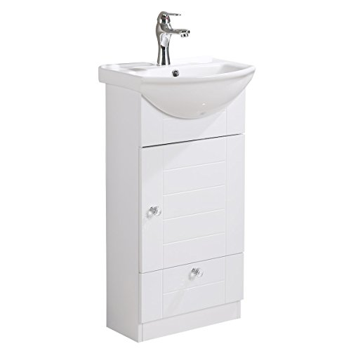 - Renovator's Supply Small Bathroom Vanity Sink Cabinet Vitreous China Sink Comes With Faucet And Drain Assembly Required Install Hardware Included