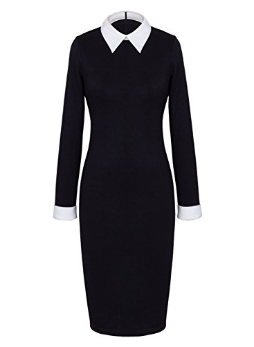 Anni Coco® Women's Peter Pan Collar Wednesday Addams Black Pencil Business Dress XX-Large