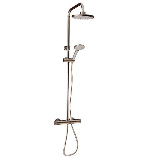 Cassellie SK002 Dalton Round Chrome Thermostatic Bar Valve with Rigid Riser Shower Kit and Diverter by (Rigid Riser Kit)