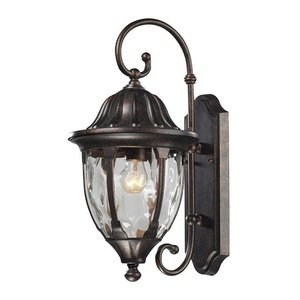 Elk 45003/1 9 by 18-Inch Glendale 1-Light Outdoor Wall Sconce with Water Glass Shade, Regal Bronze Finish