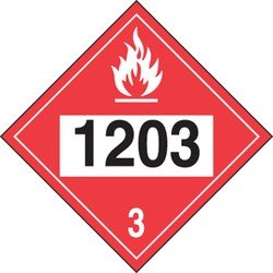 Accuform Signs MPL733VS1 Adhesive Vinyl 4-Digit DOT Placard, Hazard Class 3, Legend1203 (Gasoline), 10-3/4 Length x 10-3/4 Width x 0.004 Thickness, Black/White on Red