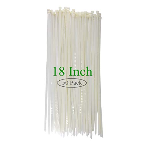 Long Wide 18 Inch Nylon Zip Cable Ties Clear -Large 120LB Tensile Strength-Heavy Duty Industrial Durable Strong Cable Ties- 50 Pack - Indoor Outdoor Garden Use(18,120LB, White)