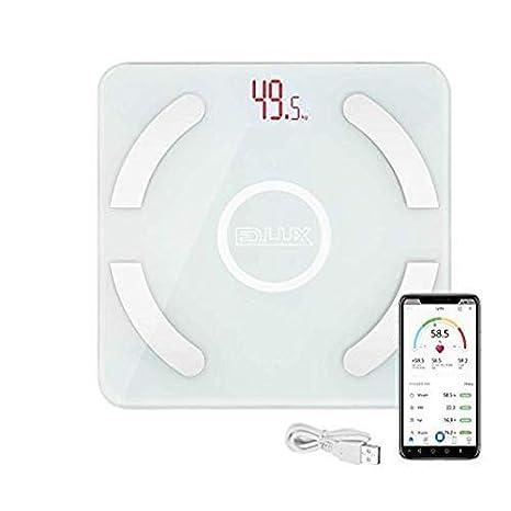 EDLUX Básculas de Grasa Corporal Bluetooth, básculas de Peso Digitales, Modo de Carga USB