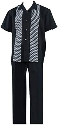 FORTINO LANDI Small Check Pattern Walking Suits W/Solid Pants in 4 Colors 2968