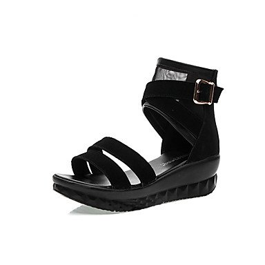 CN34 Women'S Gladiator Leather Sandals 1In Wedge Summer 1 Gladiator 4In US5 Black Real 3 Casual Heel EU35 RTRY UK3 UEPdgqd