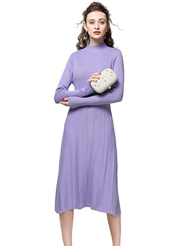 - FINCATI Knitted Dress Women Cashmere Blending Soft Elegant Vertical Striped Knee-Length Stocks Clear (S, C-Lavender)