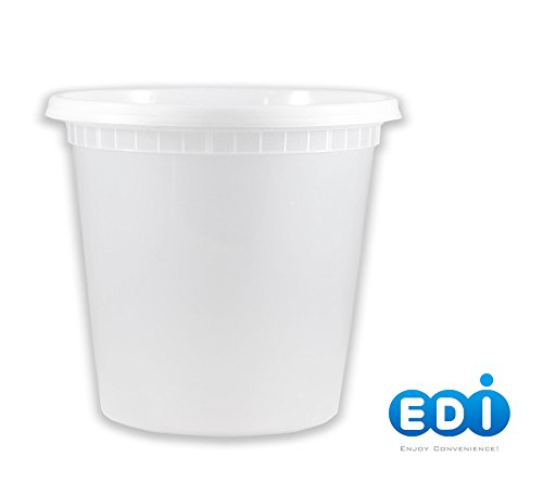 EDI D24025 Microwaveable Deli Leak Proof Lids Food Storage Container 25 Packs (24 OZ)