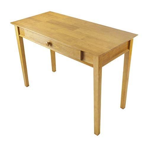 - Wood Desk with Keyboard Tray - Rectangular Writing Desk with Finished Back - Honey