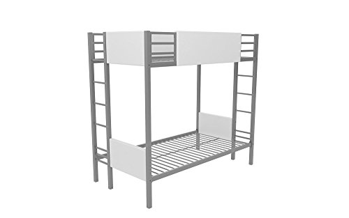 Little Seeds Monarch Hill Raven Bunk Bed Metal Frame, Twin-Over-Twin - Silver with White Faux Leather
