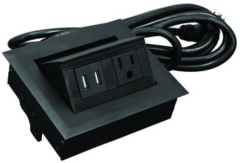 Hide-A-Dock Power/Data Station, 1 Grounded AC Outlet, 2 Charging USB Ports, Aluminum Housing, Black
