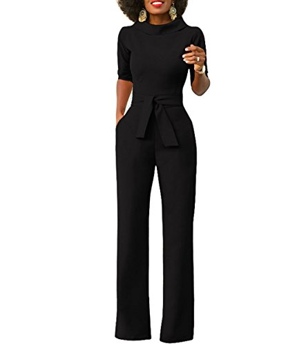Chic-Lover+Women%27s+Half+Sleeve+High+Waisted+Wide+Leg+Long+Pants+Jumpsuits+Romper+With+Belt+Black+M