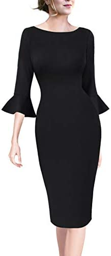 ae1af9a2ad VFSHOW Womens Ruffle Bell Sleeve Work Business Cocktail Party Sheath Dress  1025 BLK XL By VFSHOW