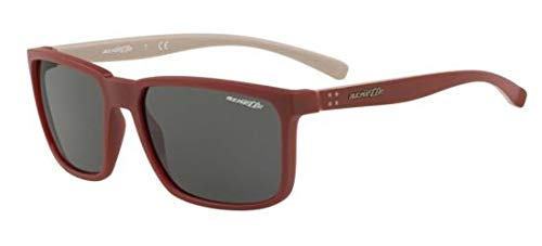 Arnette Men's AN4251 Stripe Rectangular Sunglasses, Matte Bordeaux /Grey, 58 ()