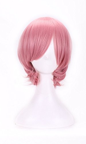 AneShe Short Straight Hair Cosplay Costume Wig Party Wig (Pink) (Cheap Coloured Wigs)