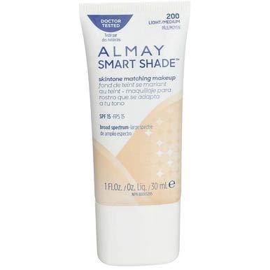 Almay Smart Shade Skin Tone Matching Makeup, Light/Medium [200] 1 oz (Pack of 2)