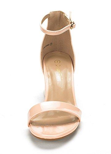 Sandals DREAM PAIRS Heel Pump Chunk Blush Pat Low Low Womens npnwSqfa