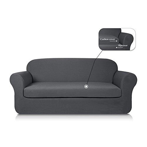 Subrtex 2-Piece Knit Jacquard Spandex Stretch Sofa Slipcover (Sofa, Gray)