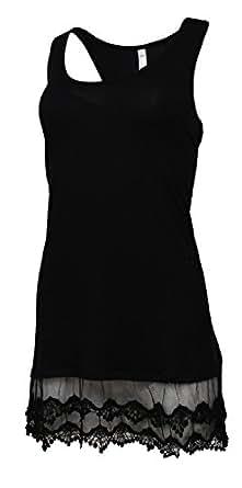 Heathmoor Womens Racerback Lace Extender Bottom Tank Top (Small, Black)