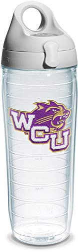 Tervis Western Carolina University Emblem Individual Water Bottle with Gray Lid, 24 oz, Clear