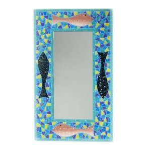 Large hand made fish mosaic mirror 40 x 60 cm for Mirror 40 x 60