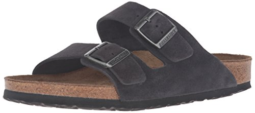 Birkenstock Unisex Arizona Velvet Gray Sandals - 37 N EU / 6-6.5 2A(N) US