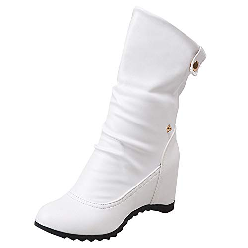 Casual Wedges Boots for Women, Huazi2 Round Toe Warm Shoes Button High Heel Shoes White (Lotto Soccer Boots)