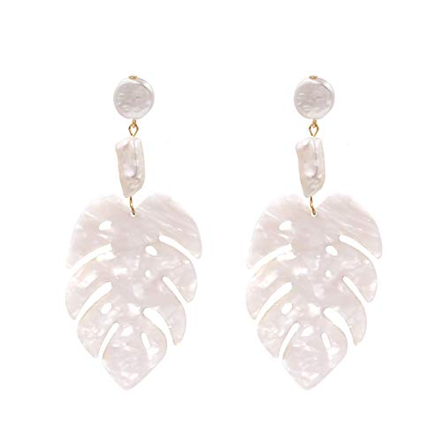 Large Leaf Earrings - Resin White Leaves Shaped Statement Dangle Drop Earrings KELMALL COLLECTION