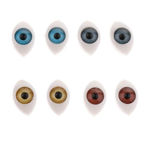 - 4 Color 8pcs Oval Hollow Back Plastic Eyes For Doll Mask DIY 6mm