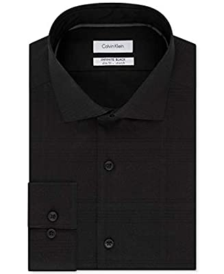 Calvin Klein Mens Infinite Button Up Dress Shirt black 15 1/2